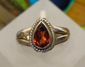 Petite Garnet Ring ~ Faceted Teardrop or Pear Shaped Garnet Birthstone Ring ~ Sterling Silver - Size 6+