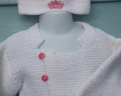 Garter stitch cardigan and hat set, with pocket and Princess applique,  size 2T