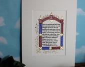 Love is Patient, 1 Corinthians 13, illuminated calligraphy, original art