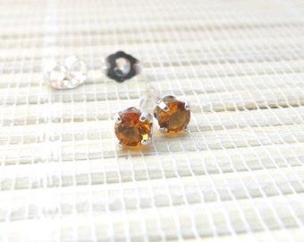 Citrine Stud Earrings Sterling Silver November Birthstone 4mm On Sale