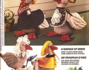 GOOSE CLOTHES Sewing Pattern - Stuffed Geese Raincoat Hat Bonnet Overalls ZOOTERZ