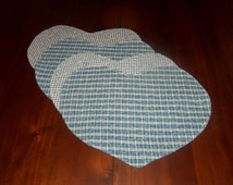 Handmade Primitive Placemats, Set of Four, 13x15 Inches, Heart Shaped, Green Plaid Homespun, Machine Quilted