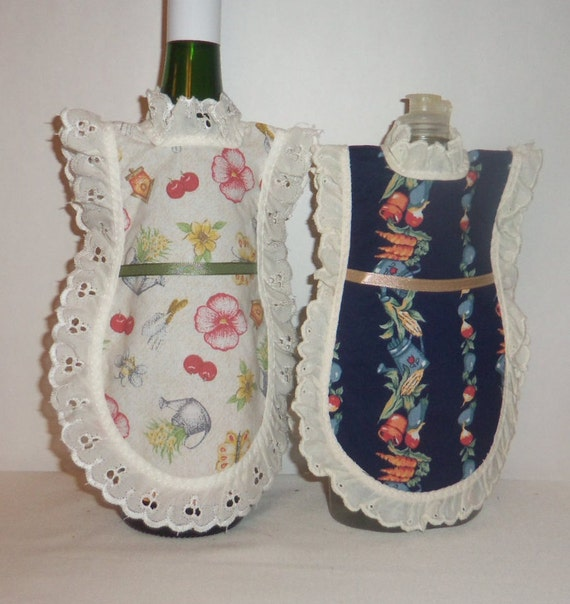 Dish Soap Apron, Handmade, Gardening, Vegetables, Wine Bottle, Detergent Cover, Bottle Gift Wrap, Mini Kitchen Apron, Eyelet Lace