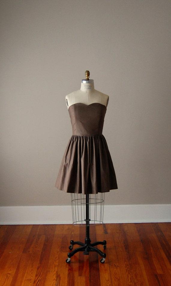 Custom Chloe Strapless Sweetheart Cotton Dress w Gathered Skirt / Bridesmaid Dress / Handmade Dress / Custom Dress / Strapless / Wedding