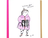 Worlds Best Cat Mom Card - Pink Robe - Crazy Cat Lady Card - Card for Mom