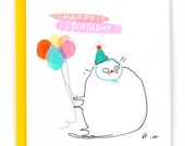 Birthday Cat Card - Party Balloons - Funny Birthday Card
