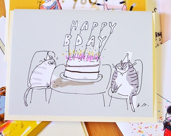 Happy Birthday Card Cat - Pink Candles - Funny Birthday Card - Cats