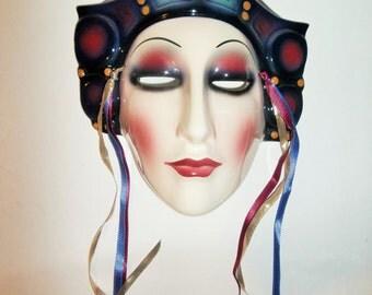 Mata Hari Clay Art Face Mask Wall Art Vintage Porcelain Ceramic Wall Plaque Decor San Francisco Retro 80s Queen Courtesan