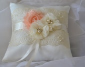 Wedding Ring Bearer Pillow -Ivory Flower Girl Basket- Peach & Ivory Chiffon Flower Basket