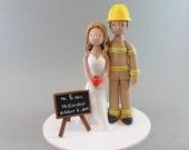Firefighter & Teacher Custom Made Wedding Cake Topper