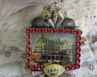 Soldered Glass Assemblage Necklace - Star Villa Hotel, Cape May, New Jersey - 1944