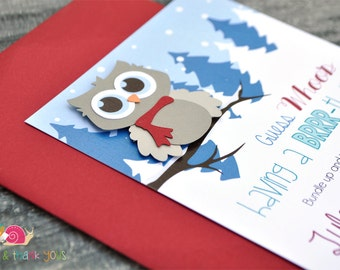Winter Owl Invitations · A6 FLAT · Red and Bluebell · Winter Wonderland | Birthday Party | First Birthday | Baby Shower