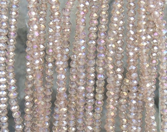 3x2mm Faceted Transparent Taupe AB Chinese Crystal Rondelle Beads 7 & 1/2 Inch Strand (3CCS23)