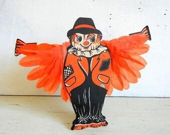 Vintage Halloween Honeycomb Scarecrow | Made in Japan | Halloween Decoration