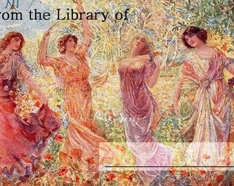 Dancing Ladies Bookplate.  Ex libris.  Digital Download.  Library, vintage, illustration, garden, name, custom, women, play, fantasy