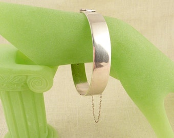 Vintage Sterling 1970 Bishton's Limited Simple Cuff Bracelet with Chain made in Birmingham England