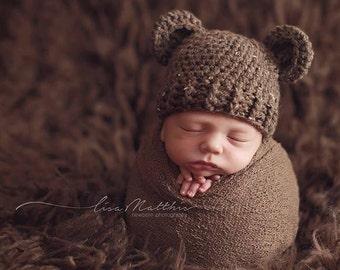 Baby Bear Hat, Boy Hat, Bear outfit, Bear costume, Teddy Bear, Newborn, Brown Bear hat, Knit bear, Photo prop, Hospital Hat, infant costume