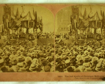 1901 Stereoview / Photograph of the last words of Pres. McKinley's address at PanAm Expo / Kilburn