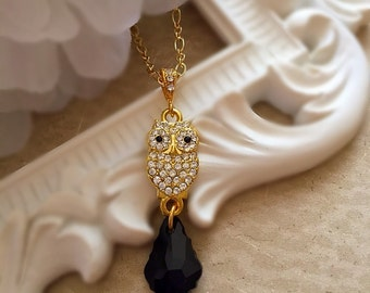 Crystal Owl Necklace - Gift for Owl Lover - Rhinestone Owl Jewelry - HOOT