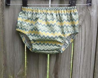 Bloomers  12-24 months Green and Yellow Chevron Diaper Cover