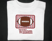 Custom Personalized Applique FOOTBALL PATCH and NAME Shirt or Bodysuit - Alabama Colors - Crimson Red and Gray