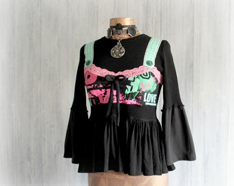 Black Boho Top Faux Suspenders Hippie Chic Clothes Bohemian Fashion Women's Eco Clothing Upcyled Shirt Peplum Top Bell Sleeves S 'BEATRICE'