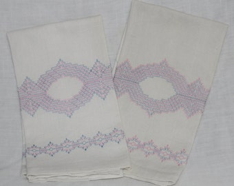 Pair of wonderful vintage towels, usable, light pink and light blue stitching