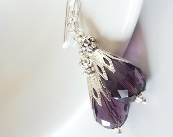 Purple Crystal Dangle Earrings, Dark Purple Bridesmaid Earrings, Crystal Teardrops, Beaded Earings, Unique Wedding Jewelry, Bridesmaid Gift