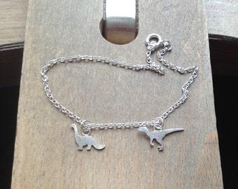Dinosaur Bracelet, Velociraptor And Brontosaurus Bracelet In Sterling Silver, Handmade In England