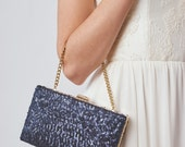 Navy Box Clutch | Bridal Clutch | Sequin Clutch | Blue Wedding Clutch [Esmé Box Clutch]
