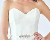 Rhinestone Bridal Belt   Small Crystal Bridesmaid Sash   Wedding Sash Belt [Petite Pollux Sash]