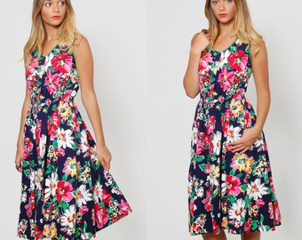 Vintage 80s FLORAL Sundress Sleeveless  Bright WATERCOLOR Floral Fit and Flare Midi Dress