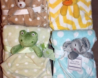 Adorable Blanket Set with Plush- Personalized Free-Great Baby Shower Gift- GIRL or BOY