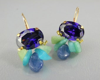 CZ Earrings, Gemstone Earrings, Purple CZ Earrings, Dangle Earrings, Drop Earrings, Faceted CZ Earrings, Gemstone Jewelry, Bohemian Earrings