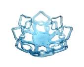 Sapphire Ribbon Bowl, Large open work glass bowl, kiln formed bottle glass bowl