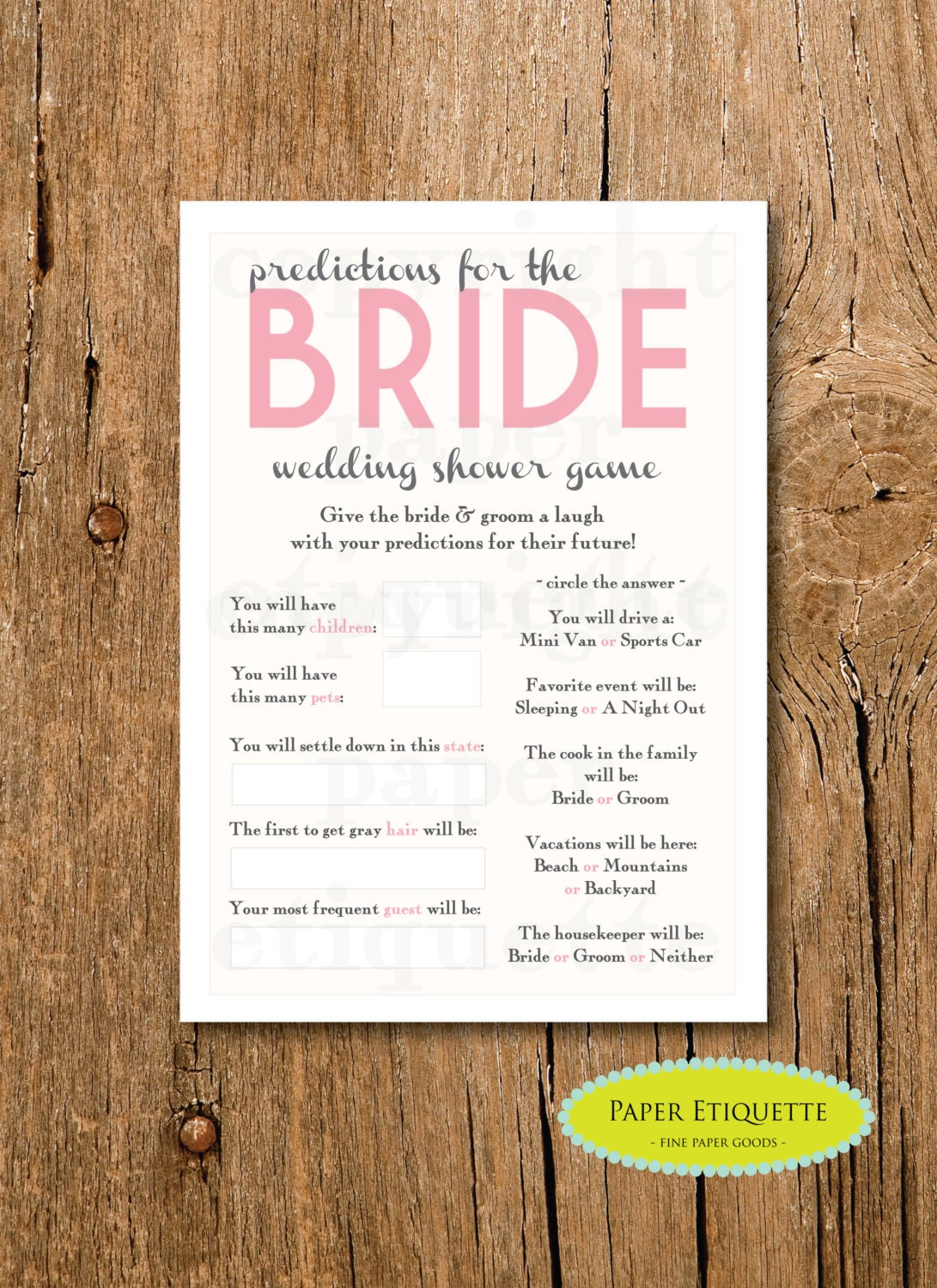 INSTANT UPLOAD Bridal Shower Game Predictions for the