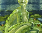 "Original painting: ""The Frog Queen"" - miniature in gouache & watercolour"
