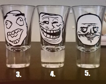 Rage Faces Meme - Hand painted shot glasses