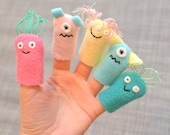 Monster Finger Puppets, in Pink, Teal, & Yellow (5-pack)