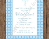 Boy Argyle Baptism Invitations - 1.00 each with envelope
