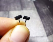 Black Bar Stud Earrings, Sterling Silver Bar Earrings, Black Stud Earrings