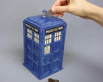 TARDIS Bank- Ready TO SHIP - Handmade Ceramic Coin Bank