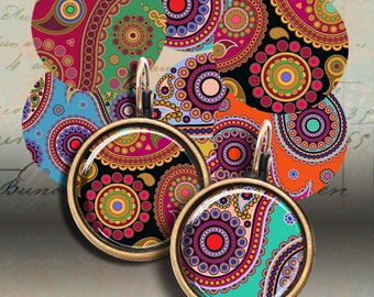 16mm and 20mm size Images HINDU PAISLEY Printable download Digital Collage Sheet for pendants earrings bezel settings bracelets