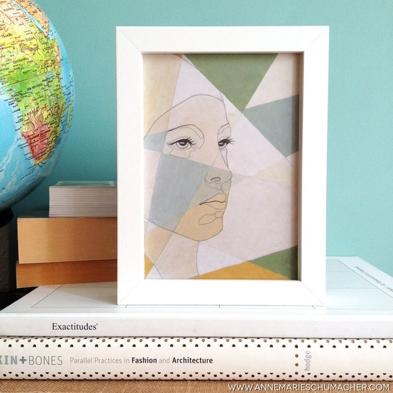 Geometrical Portrait - Giclee Print // art print, wall art, watercolour painting, inspired by africa, female portrait painting