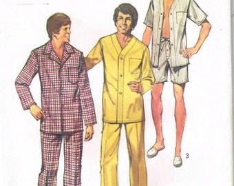 Mens Pajamas Button Up Shirt Trouser Pants Boxer Shorts Vintage 1970s Simplicity 5946 Sewing Pattern Chest Size L 42 44 Large
