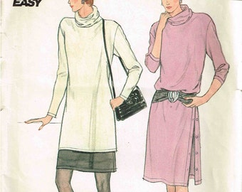 Misses Dress Cowl Neck Tunic Side Slit Skirt Butterick 4699 Sewing Pattern Size 8 10 12 14 16 Bust 31.5 32.5 34 36 38