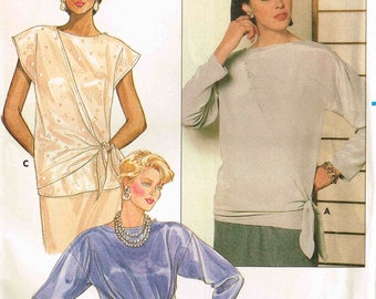 Pullover Blouse Cap Sleeve Tops Butterick 6942 Sewing Pattern Vintage 1980s Misses Size 12 14 16 Bust 34 36 38