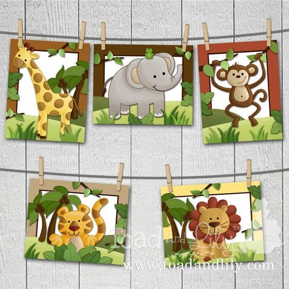 Set of 5 Jungle Safari Animals - Elephant, Tiger, Lion, Monkey and Giraffe Babies Bedroom Nursery ART PRINTS