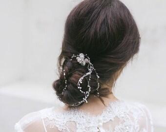 Wedding Hair Accessories, Wedding Hair Vine, Bridal Hair Wrap, Pearl Hair Vine ,Wedding Headpiece ,Bridal Hair Chain ,White Opal Hair Wreath