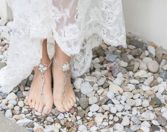 Bridal Barefoot Sandals,  Beaded Barefoot Sandals, Beach Wedding Barefoot Sandal, Pearl Barefoot Shoes, Opal Sandals